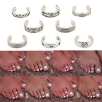 8PCS Fashion Women Silver Toe Ring Set Adjustable Opening Ring Foot Jewelry Gift