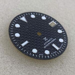 For NH35/4R36 Watch Movement 29MM Carbon Fiber Watch Dial Green Luminous Dial