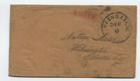 1850s Cincinnati Ohio paid 6 double rate stampless scarce handstamp [y4848]