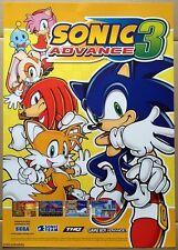 Sonic Advance 3 cartel promocional oficial de Nintendo, muy raro y Completamente Nuevo