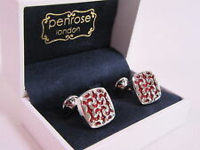 Penrose of London Designer Cufflinks Berwick Blood Red Enamel RRP £89 #CL86