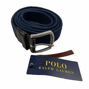 "Polo Ralph Lauren Mens Stretch Waxed Cotton Braided 1 1/4"" Belt Navy Blue XL"