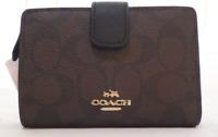 New Coach Signature PVC Leather Medium Corner Zip Wallet Brown/Black F53562 +Box