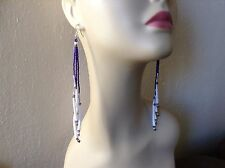 Long Royal Purple dangle Native Boho Hippie Dentalium delica beaded earring 6+