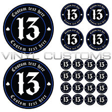 Lucky 13 Decal Your Text Here Vinyl Decal Sticker v3 Old English Font