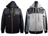New Mens Basic Code PU Faux Leather Accent Zip Up Hoodie Sweatshirt Black, Gray