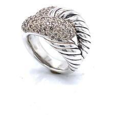David Yurman Large Infinity Sterling Silver Diamond Ring sz 7
