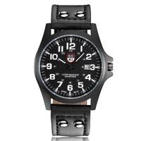 Men  Matte Dial Band Strap Leather Wristwatches Quartz Wrist Watch Watches