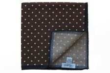 Battisti Pocket Square Brown with white polkadot & navy trim, pure wool