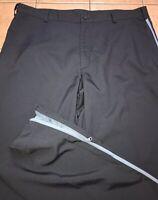 Nike Golf Fit Dry Mens Black Flat Front Golf Pants Sz 36 X 34 Blue Stripe Side