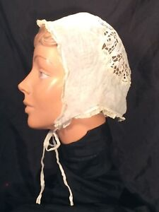 Women's antique Vintage soft Bonnet hat Cap linen fabric Lace trim Victorian tie