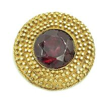 Modernist Red Rhinestone Brooch Gold Tone Faceted Glass Round Unsigned Vintage