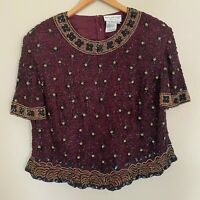 Papell Boutique Evening Beaded Floral Top Size 2X Women Silk Short Sleeves