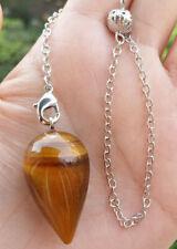 Energy Power Reiki Healing Amulet Natural Tige eye Stone Pendulum Pendant