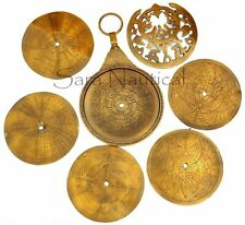 18'' Large Antique Brass Astrolabe Arabic Globe Navigation Astrological Calendar