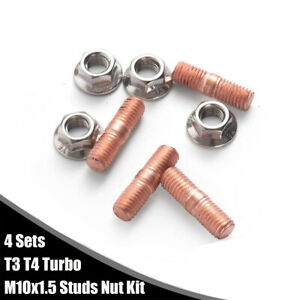 For T3 T4 Car Turbocharger Manifold M10 x 1.5 Studs Nuts Kit Alloy Steel 4 Sets