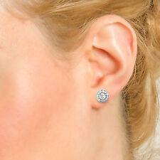 NATURAL ROUND DIAMOND EARRINGS stud cluster TCW 0.44 white GOLD 18k bridal gift