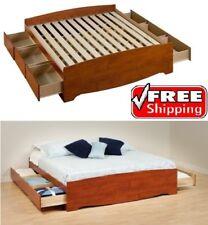 King Size Cherry Platform Bed Frame Bedroom Wood Furniture 6 Drawers Storage