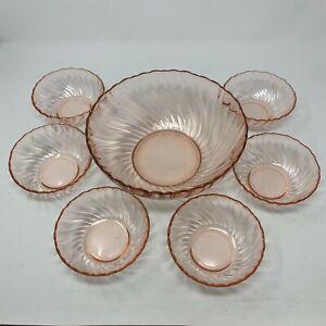 Vintage Arcoroc Rosaline 7 Pc Salad Bowl Set Pink Swirl France J G Durand