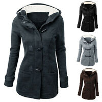 Womens Ladies Classic Hooded Parka Jacket Long Coat Slim Duffle Toggle Trench