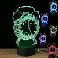 LED Digital Wanduhr Leuchte 3D Ziffern Groß Büro Bunt Nachtlicht Timer 7 Farbe