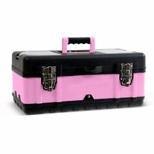 Pink Power 18� Aluminum Tool Box w/ Extra Storage Compartments for Tools Crafts
