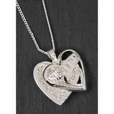 Equilibrium Silver Plated Sparkle Sister Double Heart Necklace 69784 -