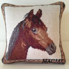 "Horse Needlepoint Pillow 10""x10"" NWT"