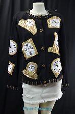Cove Creek clock time Beaded Cardigan Ugly Sweater Jacket top embellished M VTG
