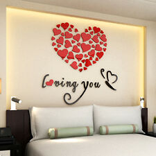 3D Removable Love Heart Mirror Wall Sticker Decal Art Mural Home Decor Romantic