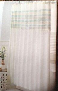 "NEW Threshold Shower Curtain Green Stripe Fringe 100% Cotton  NEW 72 X 72"""