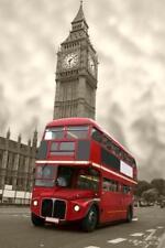 Big Ben Red Double Decker Bus London UK Photo Art Print Poster 24x36 inch