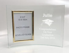 Personalised Engraved Glass 6x4 Photo Frame - Graduation Graduate Exam Gift