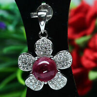 NATURAL 8 mm. CABOCHON PINK RUBY & WHITE CZ PENDANT 925 SILVER