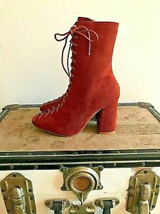 New Womens Cape Robbin Tan/Rust Suede Lace & Zip Up Ankle  Boots Size Uk 3 Nwb