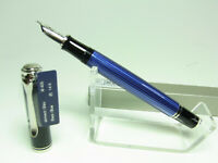 NOS PELIKAN M405 SOUVERÄN blue striated fountain pen 14ct white gold F nib