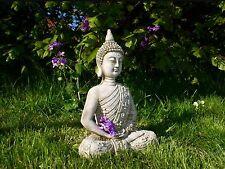 FANCY ORIENTAL MEDITATING BUDDHA Stone Cast Garden Ornament Statue Koi