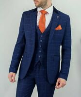 HOMBRES Cavani Kaiser Azul 3 Pieza Tweed Naranja Cuadros Traje Paliducho