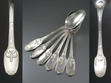 Antique French Christofle Silver Plated Luncheon Spoons, Neoclassic Empire Style