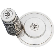 KIDDUSH CUP PLATE STERLING SILVER 925 SET SAUCER HAND ENGRAVED SHAVUOT JUDAICA