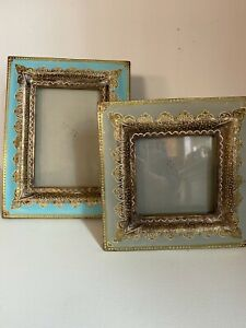"""Two Bohemian India Picture Frame 7"""" Square & 7 x 9"""" Wood & Gold"""