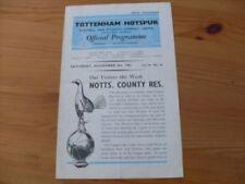 Notts County Teams L-N Football Reserve Fixture Programmes