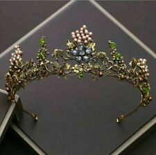 vintage antique style design tiara blue green  flowers fairytale queen gothic
