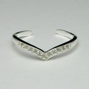 14k White Gold Over Silver Toe Ring Heart with Diamond Ladies New Fashion Gift