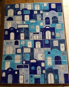 Mediterranean Blue Village Mural -Hand Painted Ceramic Tile-Disrupted shipping