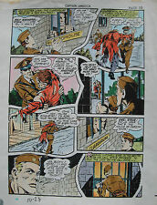 JACK KIRBY Joe Simon CAPTAIN AMERICA #10 pg 28 HAND COLORED ART Theakston 1989 Comic Art