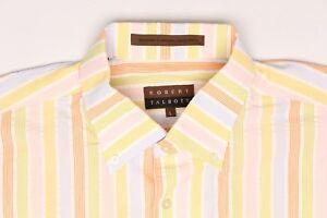 Robert Talbott Cotton Shirt L Pink Orange Green Blue Pastel Stripe Button Down