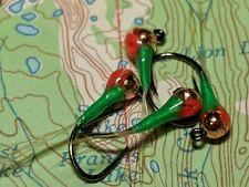 4 Jig head Perdigon nymphs in Green w/ Holo rib, size#14. Great Euro Nymph.