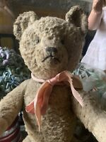"💕Sweet Antique Teddy Bear 17"" Made By Ideal /Jointed/Original Ribbon💕"