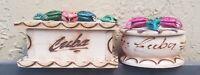 Vintage Set of 2 Wood Cuba Desk Design Pill/Trinket/Jewelry Boxes